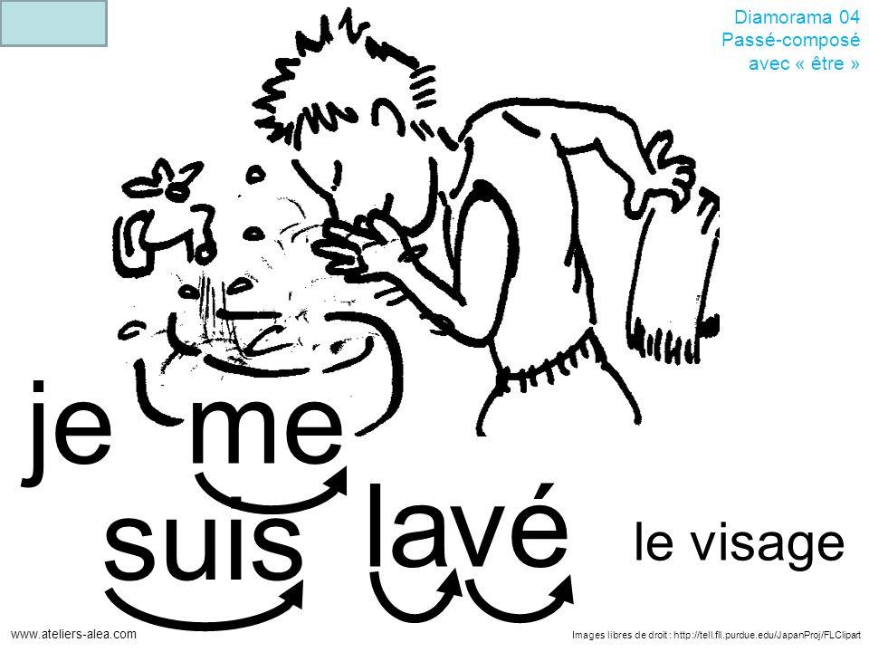 Images libres de droit : http://tell.fll.purdue.edu/JapanProj/FLClipart www.ateliers-alea.com Diamorama 04 Passé-composé avec « être » véla je me le visage suis