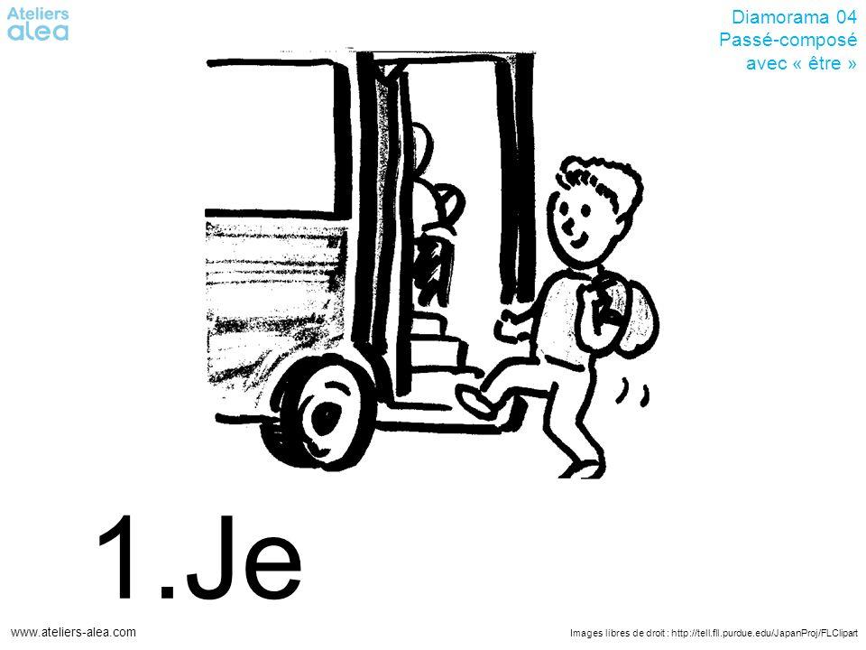 Images libres de droit : http://tell.fll.purdue.edu/JapanProj/FLClipart www.ateliers-alea.com Diamorama 04 Passé-composé avec « être » 1.Je.