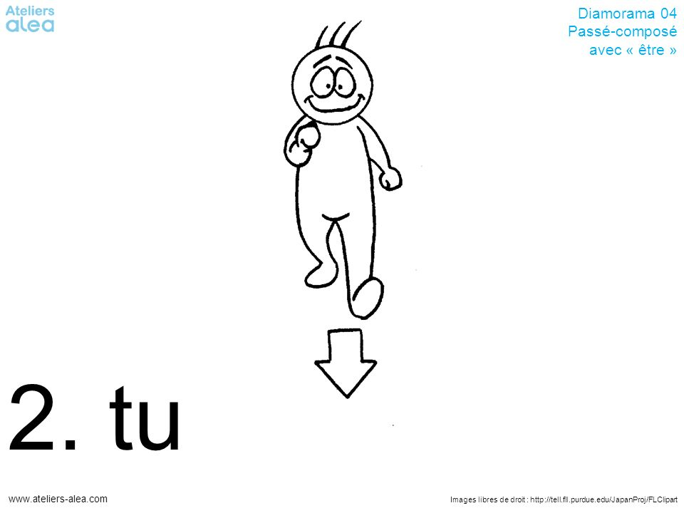 Images libres de droit : http://tell.fll.purdue.edu/JapanProj/FLClipart www.ateliers-alea.com Diamorama 04 Passé-composé avec « être » 2. tu