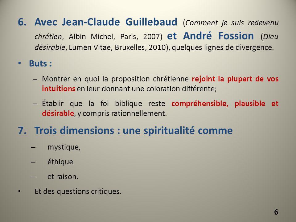 6.Avec Jean-Claude Guillebaud (Comment je suis redevenu chrétien, Albin Michel, Paris, 2007) et André Fossion (Dieu désirable, Lumen Vitae, Bruxelles,