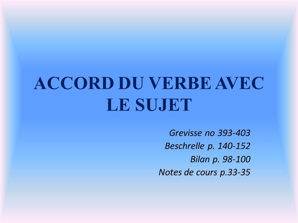 ACCORD DU VERBE AVEC LE SUJET Grevisse no 393-403 Beschrelle p.