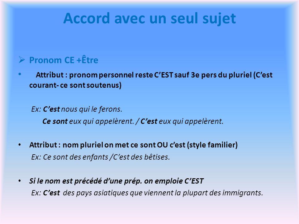 Accord avec un seul sujet Pronom CE +Être Attribut : pronom personnel reste CEST sauf 3e pers du pluriel (Cest courant- ce sont soutenus) Ex: Cest nous qui le ferons.