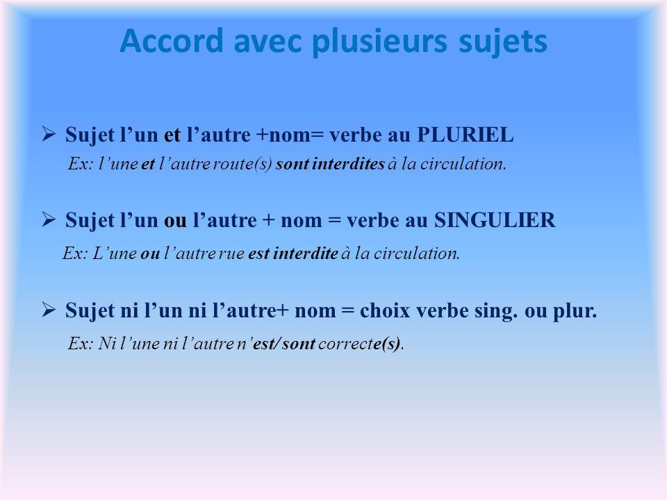 Accord avec plusieurs sujets Sujet lun et lautre +nom= verbe au PLURIEL Ex: lune et lautre route(s) sont interdites à la circulation.