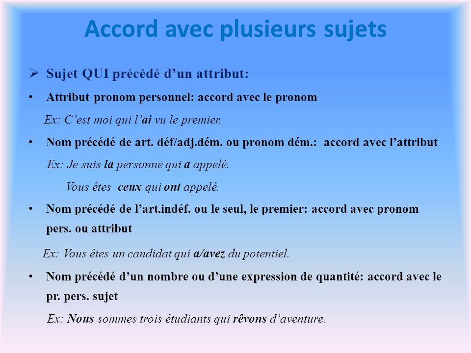 Accord avec plusieurs sujets Sujet QUI précédé dun attribut: Attribut pronom personnel: accord avec le pronom Ex: Cest moi qui lai vu le premier.