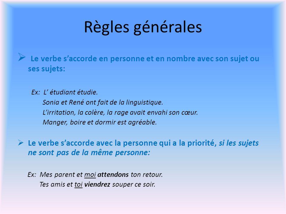 Règles générales Le verbe saccorde en personne et en nombre avec son sujet ou ses sujets: Ex: L étudiant étudie.