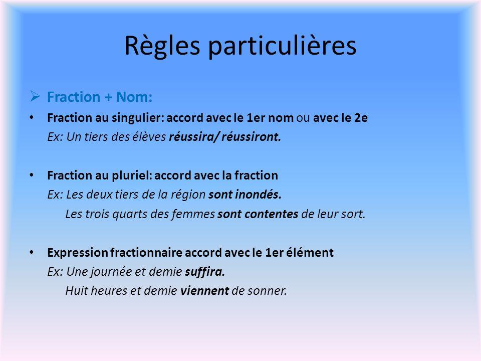 Fraction + Nom: Fraction au singulier: accord avec le 1er nom ou avec le 2e Ex: Un tiers des élèves réussira/ réussiront.