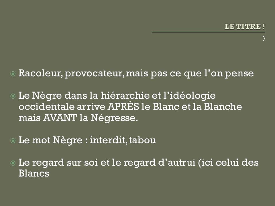 ) Racoleur, provocateur, mais pas ce que lon pense Le Nègre dans la hiérarchie et lidéologie occidentale arrive APRÈS le Blanc et la Blanche mais AVAN