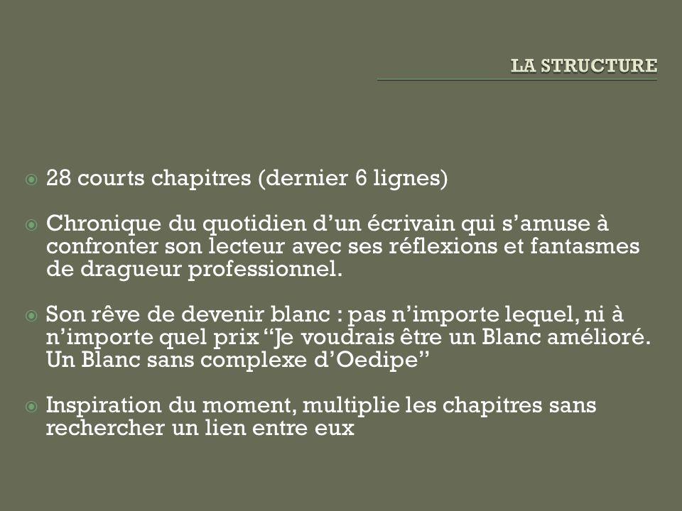 28 courts chapitres (dernier 6 lignes) Chronique du quotidien dun écrivain qui samuse à confronter son lecteur avec ses réflexions et fantasmes de dra