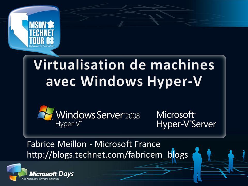 Le support des configurations http://www.microsoft.com/windowsserver2008/en/us /hyperv-supported-guest-os.aspx Windows Server 2008 x64 (VM configurée avec 1-, 2-, ou 4 proc SMP) Windows Server 2008 x86 (VM configurée avec 1-, 2-, ou 4 proc SMP ) Windows HPC Server 2008 (VM configurée avec 1-, 2-, ou 4 proc SMP) Windows Server 2003 x86 SP2 (VM configurée avec 1-, 2 proc SMP) Windows Server 2003 x64 SP2 (VM configurée avec 1-, 2 proc SMP) Windows Server 2000 SP4 (Vm avec 1 proc) Linux Distributions (Vm avec 1 proc) SUSE Linux Enterprise Server 10 SP1 et SP2 x86, x64 Edition Windows Vista SP1 x86 et x64 (VM configurée avec 1-, 2 proc SMP) Windows XP Professional x86 SP2, SP3, Windows XP Professional x64 SP2 (VM configurée avec 1-, 2 proc SMP)