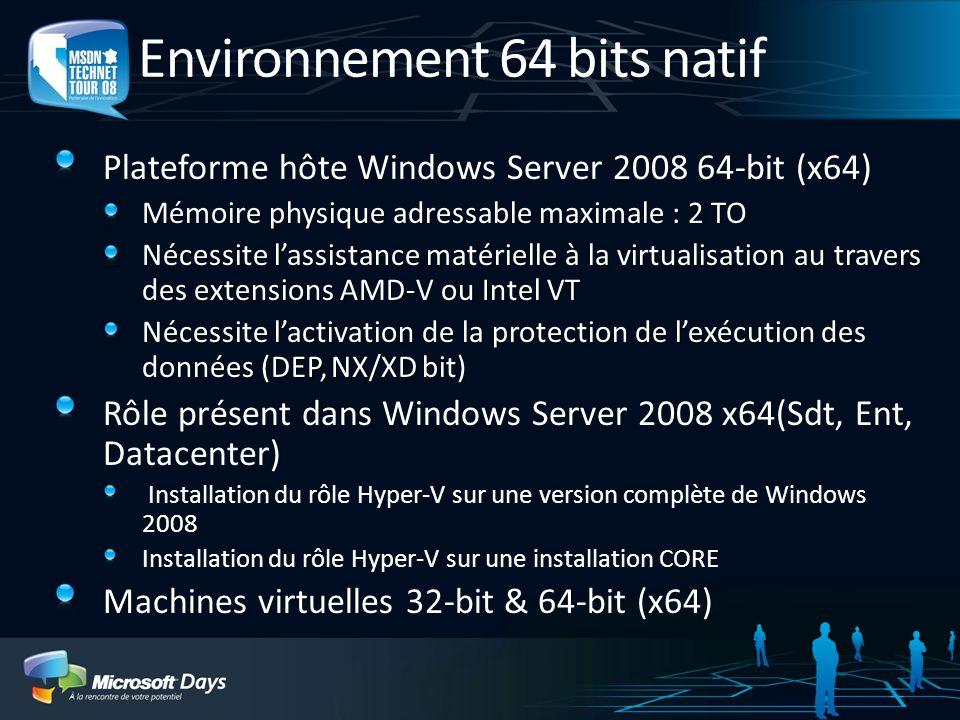Environnement 64 bits natif Plateforme hôte Windows Server 2008 64-bit (x64) Mémoire physique adressable maximale : 2 TO Nécessite lassistance matérielle à la virtualisation au travers des extensions AMD-V ou Intel VT Nécessite lactivation de la protection de lexécution des données (DEP, NX/XD bit) Rôle présent dans Windows Server 2008 x64(Sdt, Ent, Datacenter) Installation du rôle Hyper-V sur une version complète de Windows 2008 Installation du rôle Hyper-V sur une installation CORE Machines virtuelles 32-bit & 64-bit (x64)