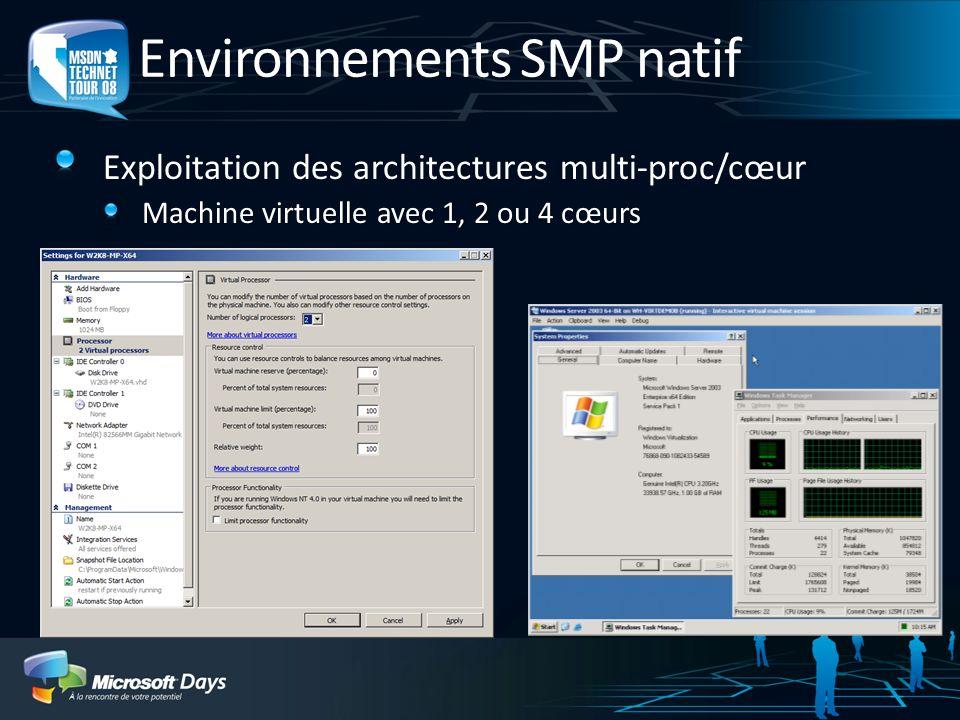 Environnements SMP natif Exploitation des architectures multi-proc/cœur Machine virtuelle avec 1, 2 ou 4 cœurs