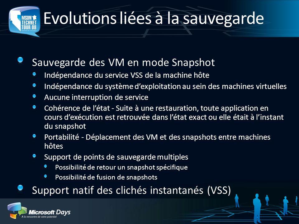 Evolutions liées à la sauvegarde Sauvegarde des VM en mode Snapshot Indépendance du service VSS de la machine hôte Indépendance du système dexploitati