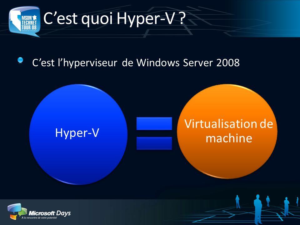 Principe des machines virtuelles Serveur physique « Hôte » « Host » Disque physique Disque virtuel Machine virtuelle (VM) « Invité » « Guest » Réseaux