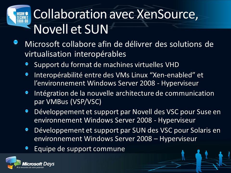 Collaboration avec XenSource, Novell et SUN Microsoft collabore afin de délivrer des solutions de virtualisation interopérables Support du format de machines virtuelles VHD Interopérabilité entre des VMs Linux Xen-enabled et lenvironnement Windows Server 2008 - Hyperviseur Intégration de la nouvelle architecture de communication par VMBus (VSP/VSC) Développement et support par Novell des VSC pour Suse en environnement Windows Server 2008 - Hyperviseur Développement et support par SUN des VSC pour Solaris en environnement Windows Server 2008 – Hyperviseur Equipe de support commune
