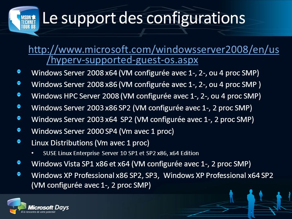 Le support des configurations http://www.microsoft.com/windowsserver2008/en/us /hyperv-supported-guest-os.aspx Windows Server 2008 x64 (VM configurée
