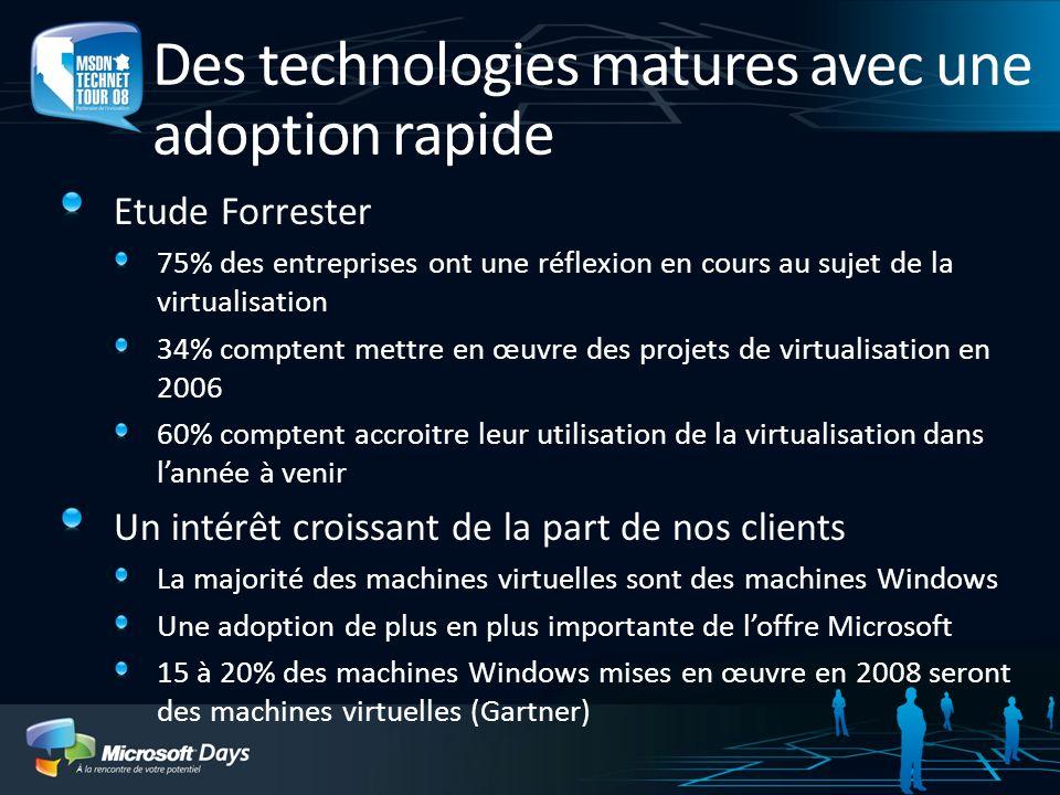 Des technologies matures avec une adoption rapide Etude Forrester 75% des entreprises ont une réflexion en cours au sujet de la virtualisation 34% com