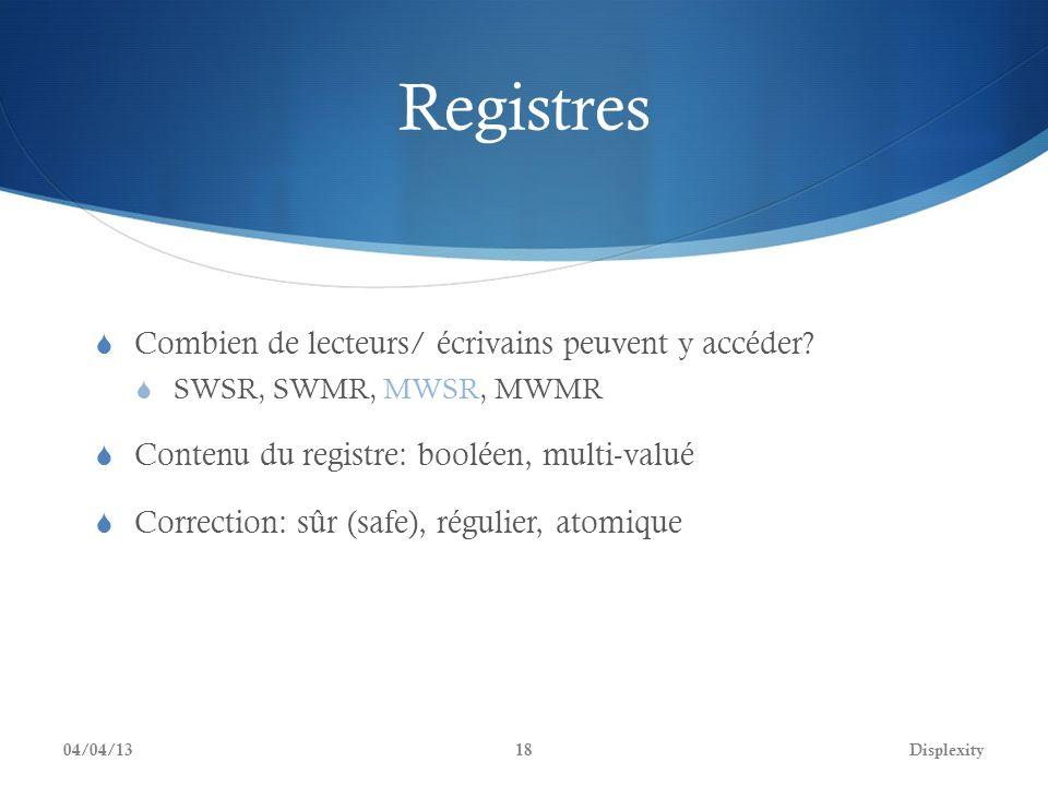 Registres Combien de lecteurs/ écrivains peuvent y accéder? SWSR, SWMR, MWSR, MWMR Contenu du registre: booléen, multi-valué Correction: sûr (safe), r