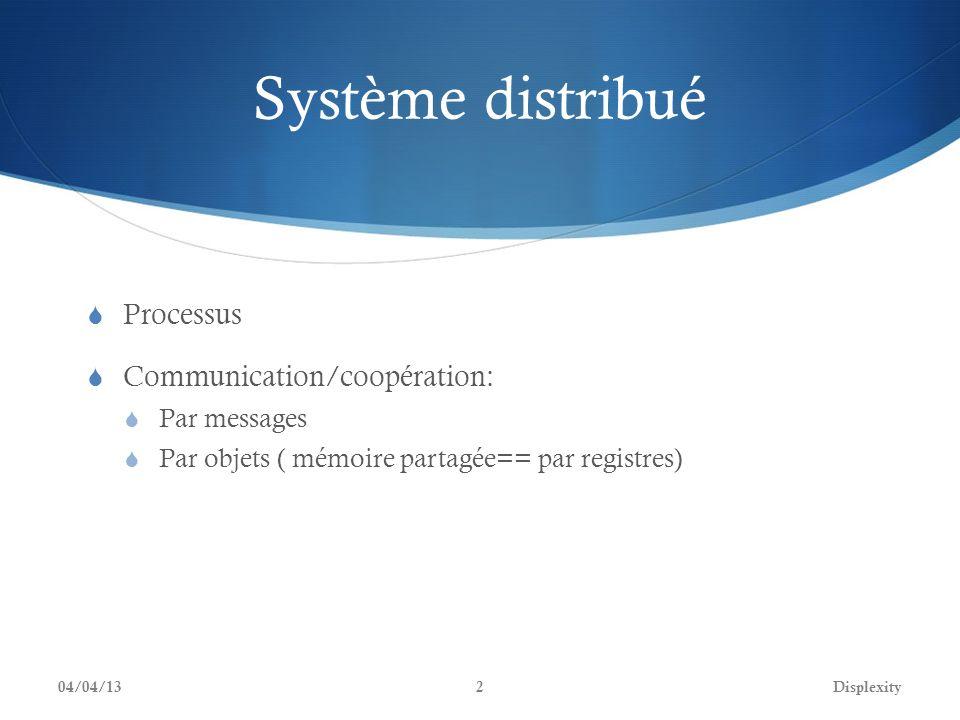 Système distribué Processus Communication/coopération: Par messages Par objets ( mémoire partagée== par registres) 04/04/13Displexity2