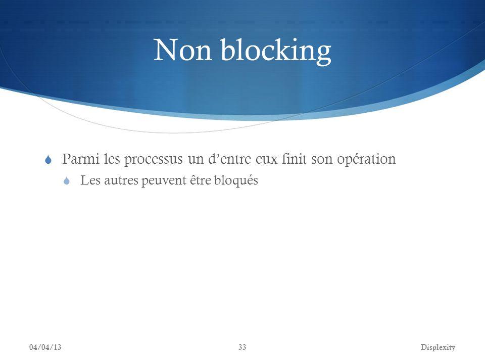 Non blocking Parmi les processus un dentre eux finit son opération Les autres peuvent être bloqués 04/04/13Displexity33
