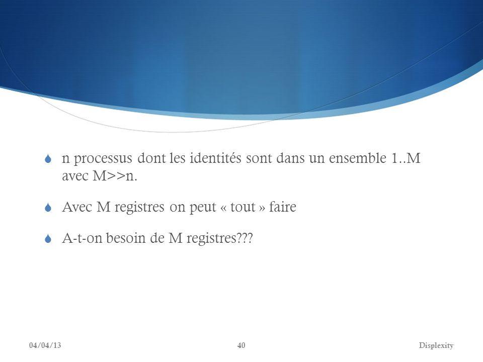 n processus dont les identités sont dans un ensemble 1..M avec M>>n. Avec M registres on peut « tout » faire A-t-on besoin de M registres??? 04/04/13D