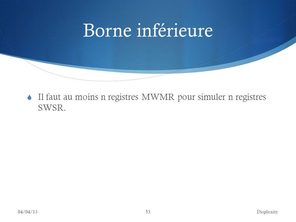 Borne inférieure Il faut au moins n registres MWMR pour simuler n registres SWSR. 04/04/13Displexity53