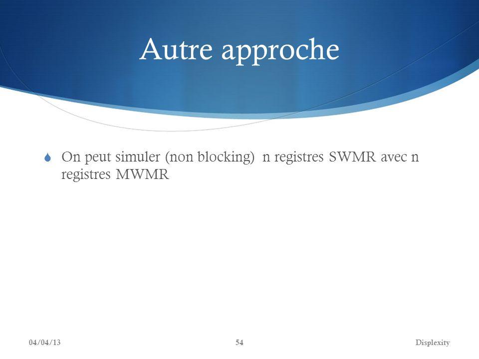 Autre approche On peut simuler (non blocking) n registres SWMR avec n registres MWMR 04/04/13Displexity54