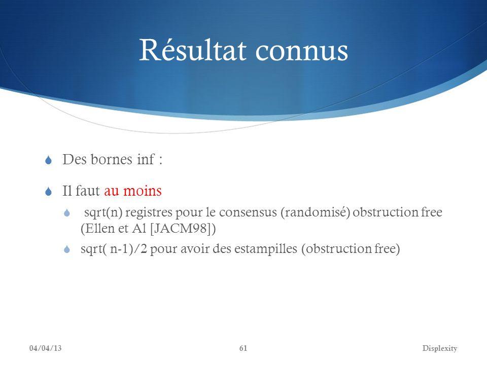 Résultat connus Des bornes inf : Il faut au moins sqrt(n) registres pour le consensus (randomisé) obstruction free (Ellen et Al [JACM98]) sqrt( n-1)/2