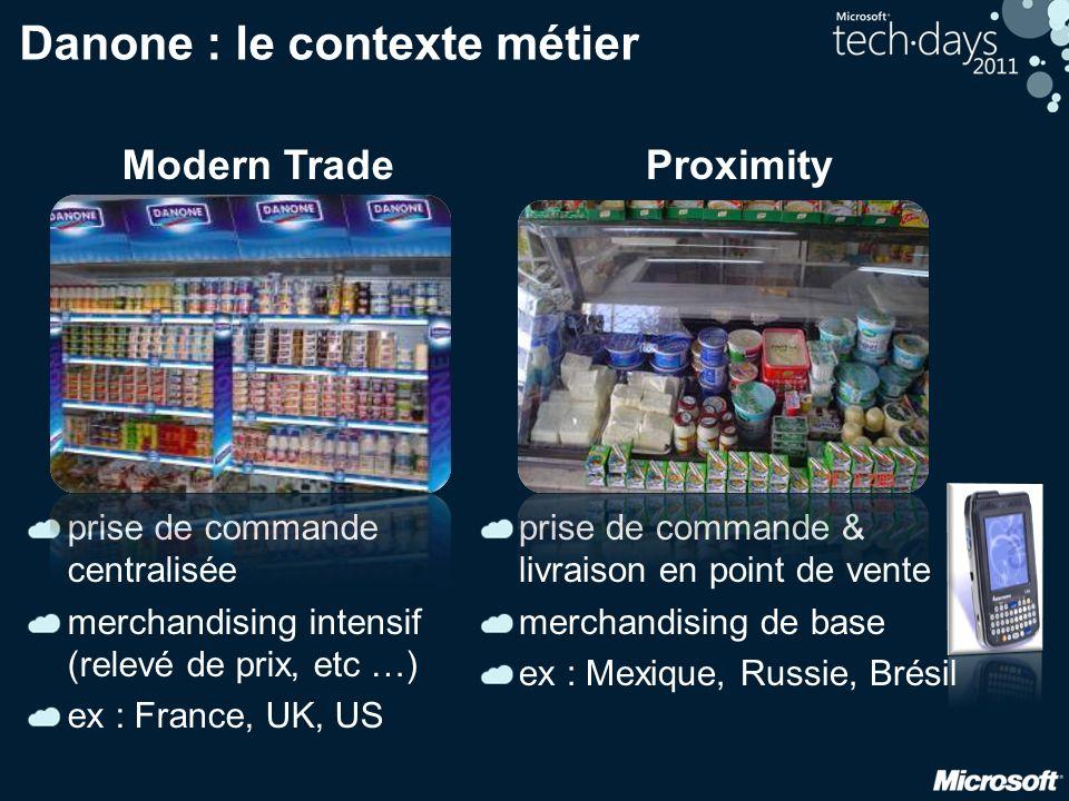 Danone : le contexte métier Modern Trade prise de commande centralisée merchandising intensif (relevé de prix, etc …) ex : France, UK, US Proximity pr