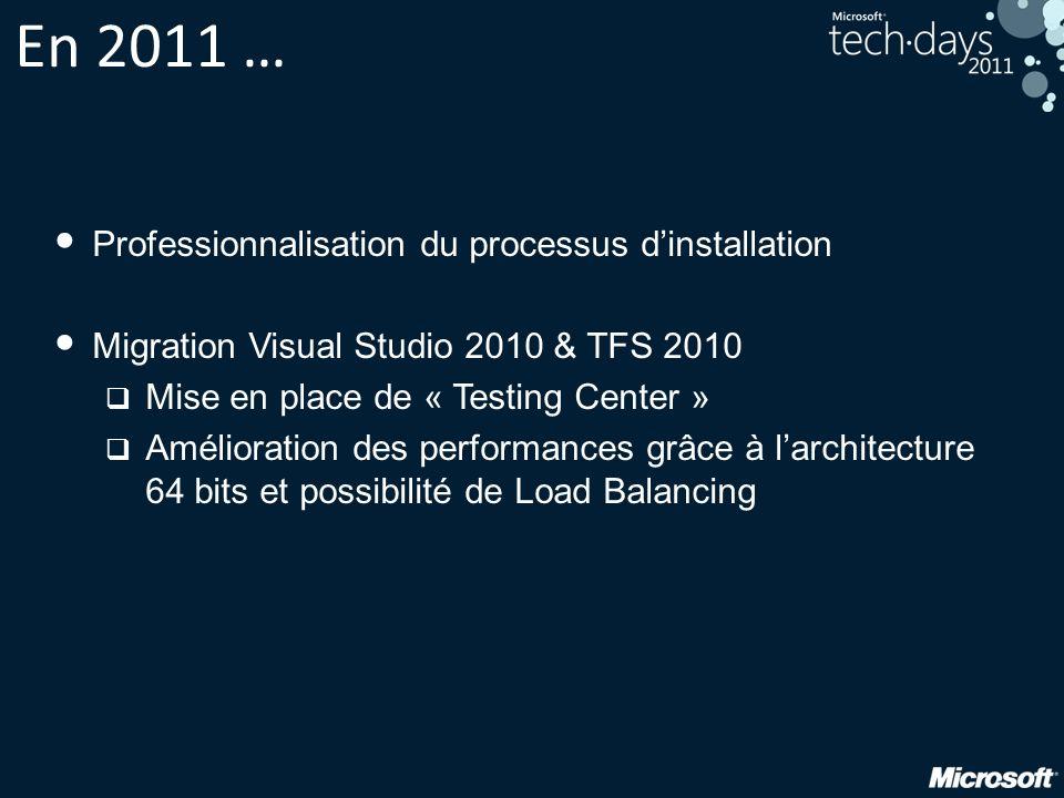En 2011 … Professionnalisation du processus dinstallation Migration Visual Studio 2010 & TFS 2010 Mise en place de « Testing Center » Amélioration des