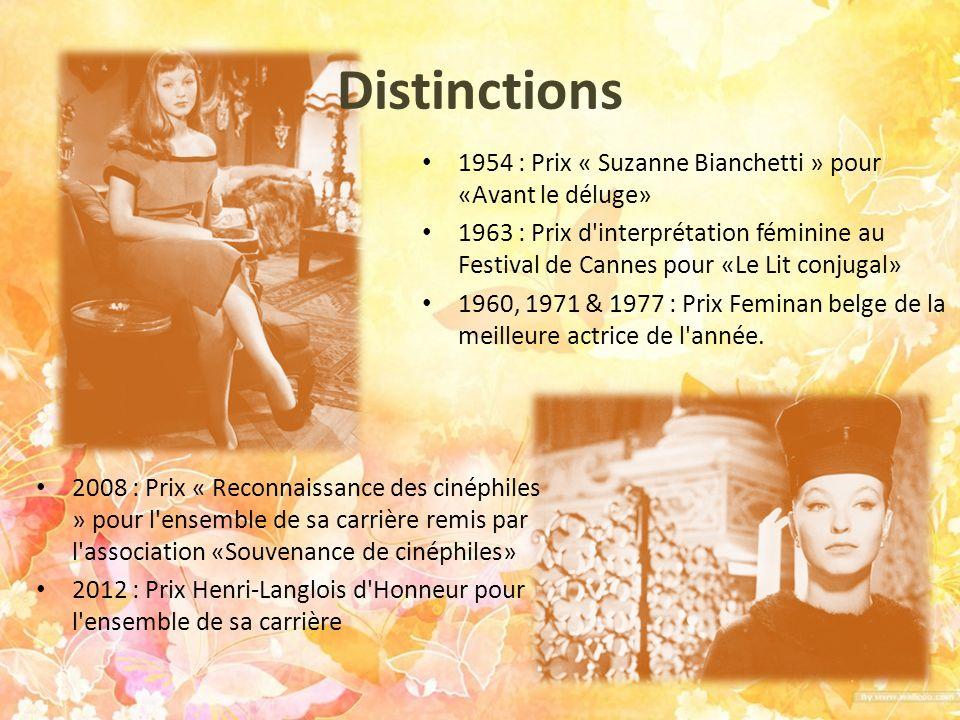Distinctions 1954 : Prix « Suzanne Bianchetti » pour «Avant le déluge» 1963 : Prix d'interprétation féminine au Festival de Cannes pour «Le Lit conjug