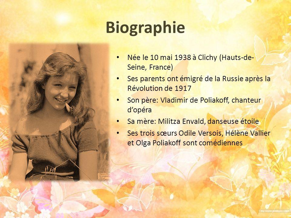 Ses 4 mariages 1955 – 1959 : mariage avec Robert Hossein, comédien et metteur en scène, avec qui elle a eu deux enfants : Pierre et Igor 19631966 : mariage avec Jean- Claude Brouillet, aviateur, ancien résistant et entrepreneur dans le transport aérien.