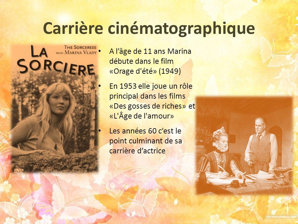 Dans les années 1970 et 1980, Marina alterne comédies populaires et films d auteur au succès moindre Les années 1990 elle ne tourne plus dans les films, mais elle apparaît plus à la télévision Aujourdhui elle se consacre à lécriture et au théâtre
