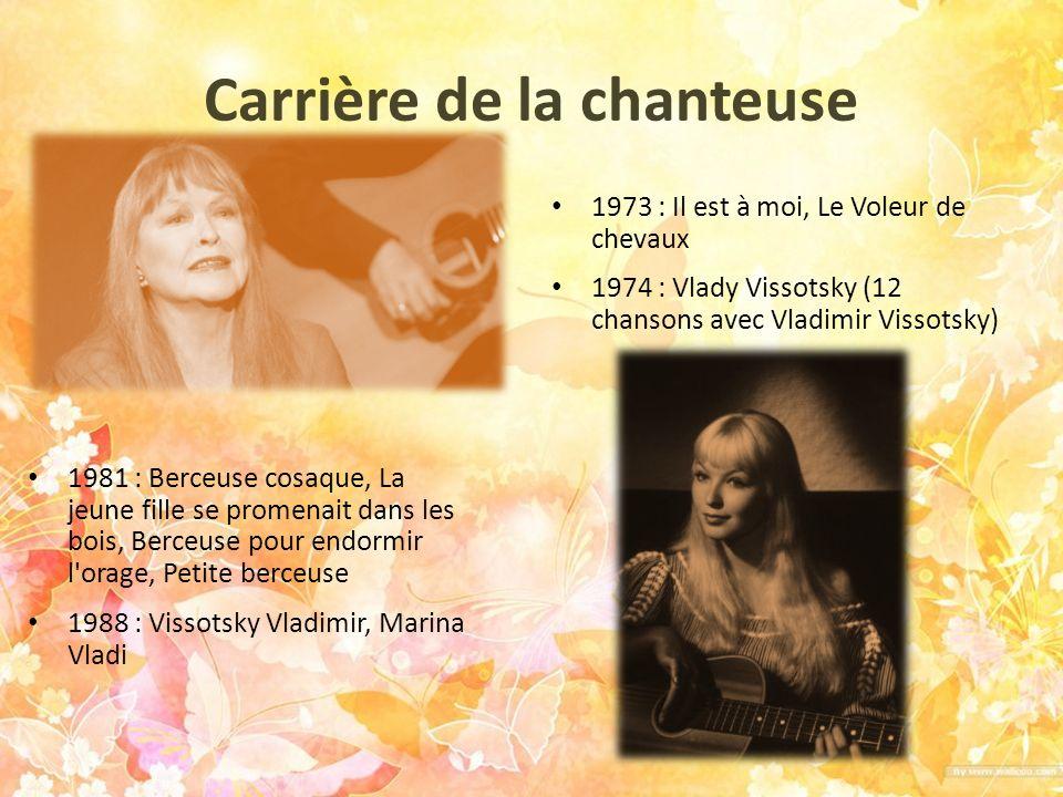 Carrière de la chanteuse 1981 : Berceuse cosaque, La jeune fille se promenait dans les bois, Berceuse pour endormir l'orage, Petite berceuse 1988 : Vi
