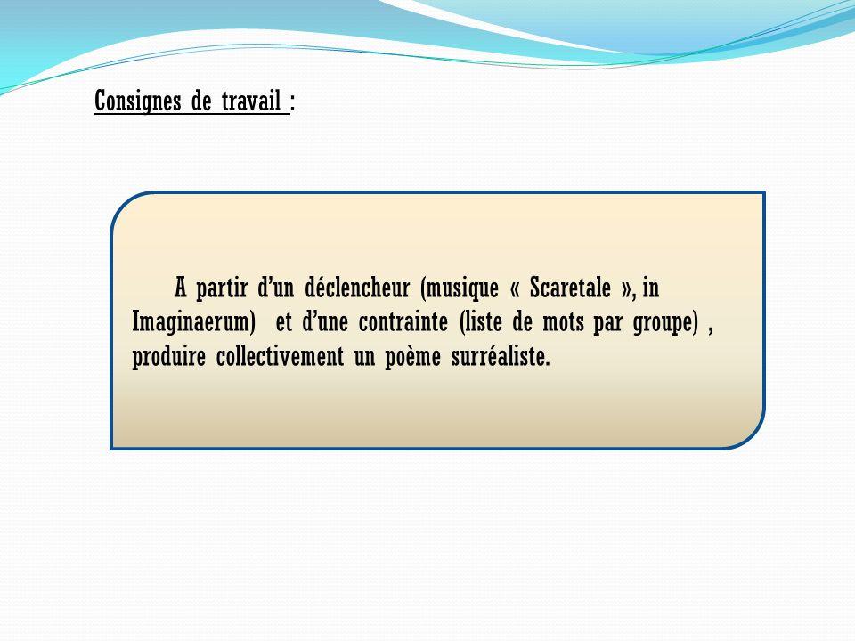 Consignes de travail : A partir dun déclencheur (musique « Scaretale », in Imaginaerum) et dune contrainte (liste de mots par groupe), produire collec