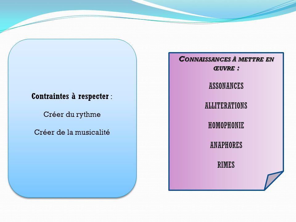 Contraintes à respecter : Créer du rythme Créer de la musicalité Contraintes à respecter : Créer du rythme Créer de la musicalité C ONNAISSANCES À MET