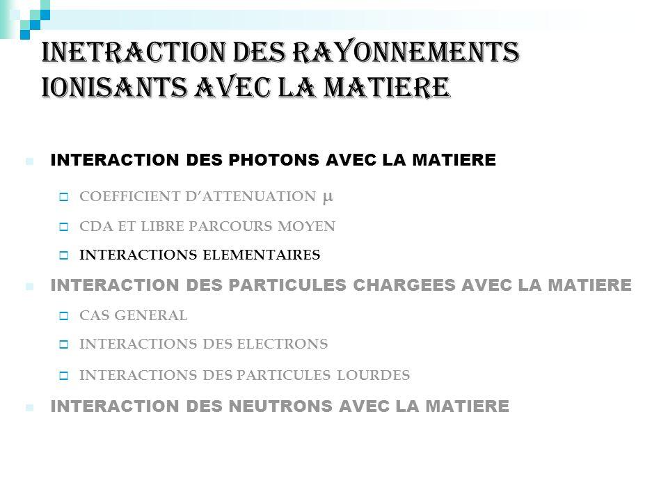 INETRACTION DES RAYONNEMENTS IONISANTS AVEC LA MATIERE INTERACTION DES PHOTONS AVEC LA MATIERE COEFFICIENT DATTENUATION CDA ET LIBRE PARCOURS MOYEN IN