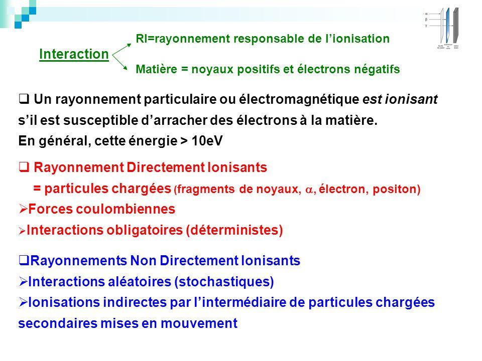 Un rayonnement particulaire ou électromagnétique est ionisant sil est susceptible darracher des électrons à la matière. En général, cette énergie > 10