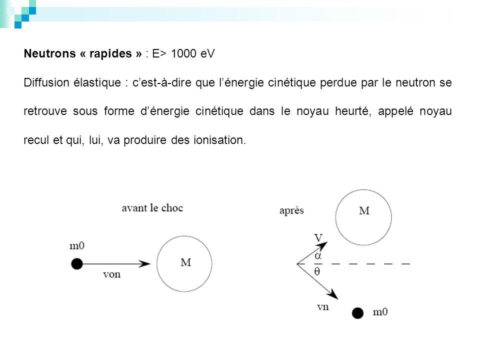 Neutrons « rapides » : E> 1000 eV Diffusion élastique : cest-à-dire que lénergie cinétique perdue par le neutron se retrouve sous forme dénergie cinét