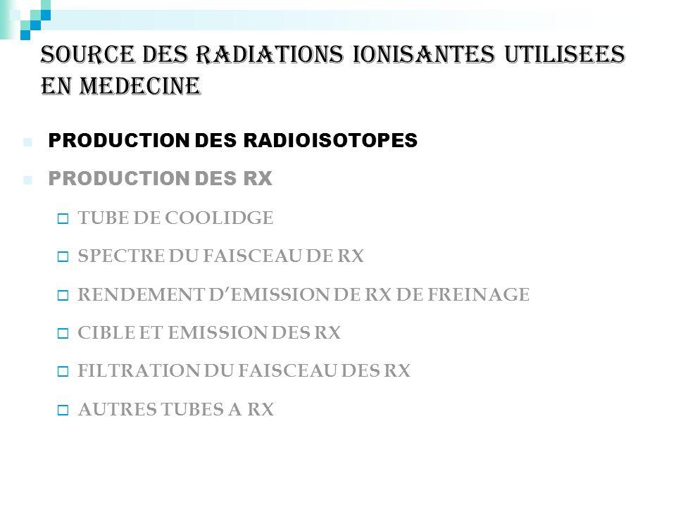 SOURCE DES RADIATIONS IONISANTES UTILISEES EN MEDECINE PRODUCTION DES RADIOISOTOPES PRODUCTION DES RX TUBE DE COOLIDGE SPECTRE DU FAISCEAU DE RX RENDE