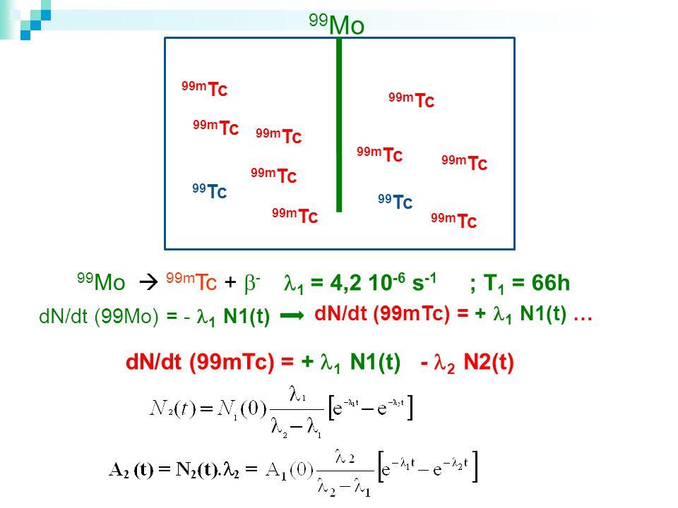 99 Mo 99m Tc 99 Mo 99m Tc + - 1 = 4,2 10 -6 s -1 ; T 1 = 66h dN/dt (99Mo) = - 1 N1(t) 99 Tc dN/dt (99mTc) = dN/dt (99mTc) = + 1 N1(t) … + 1 N1(t)- 2 N