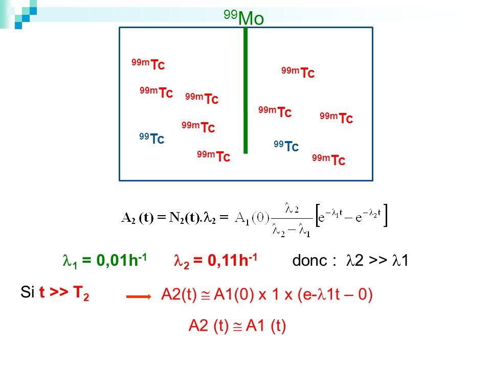 1 = 0,01h -1 2 = 0,11h -1 A2(t) A1(0) x 1 x (e- 1t – 0) Si t >> T 2 A2 (t) A1 (t) 99 Mo 99m Tc 99 Tc donc : 2 >> 1