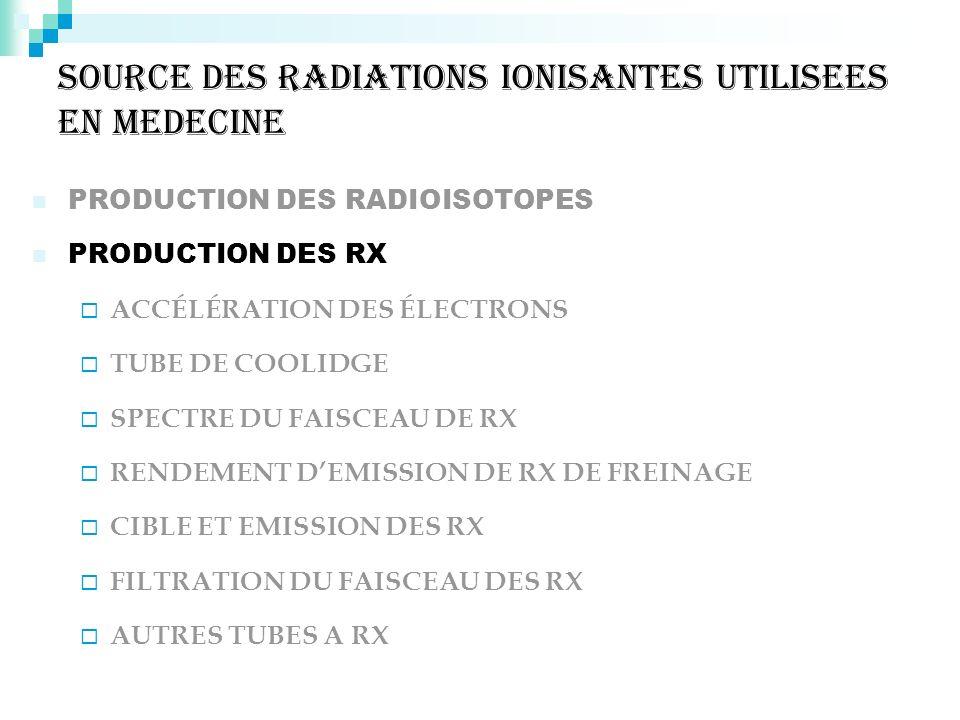 SOURCE DES RADIATIONS IONISANTES UTILISEES EN MEDECINE PRODUCTION DES RADIOISOTOPES PRODUCTION DES RX ACCÉLÉRATION DES ÉLECTRONS TUBE DE COOLIDGE SPEC