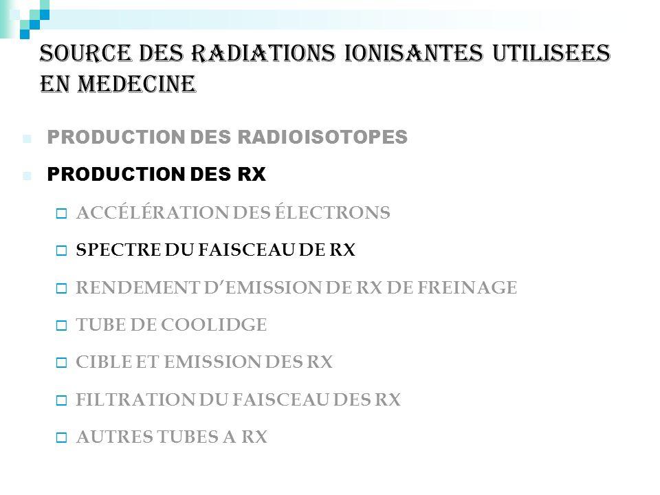 SOURCE DES RADIATIONS IONISANTES UTILISEES EN MEDECINE PRODUCTION DES RADIOISOTOPES PRODUCTION DES RX ACCÉLÉRATION DES ÉLECTRONS SPECTRE DU FAISCEAU D
