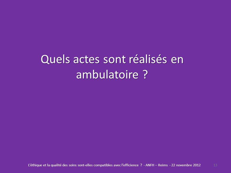 Quels actes sont réalisés en ambulatoire ? 13Léthique et la qualité des soins sont-elles compatibles avec lefficience ? - ANFH – Reims - 22 novembre 2