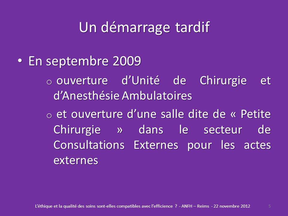 Un démarrage tardif En septembre 2009 En septembre 2009 o ouverture dUnité de Chirurgie et dAnesthésie Ambulatoires o et ouverture dune salle dite de
