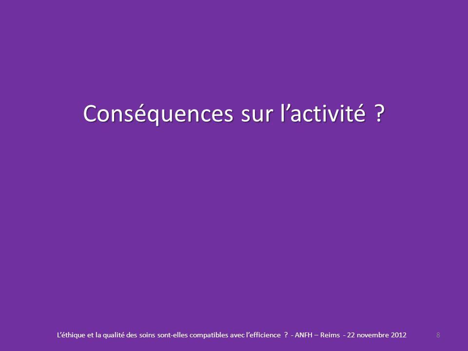 Conséquences sur lactivité ? 8Léthique et la qualité des soins sont-elles compatibles avec lefficience ? - ANFH – Reims - 22 novembre 2012