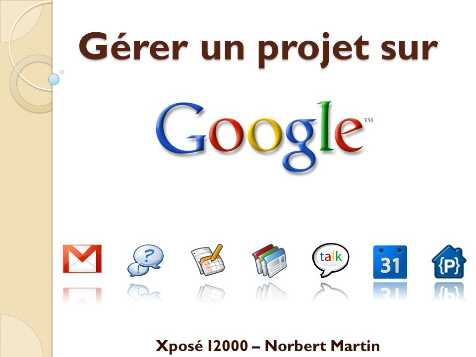 Déroulement Introduction Planification Agenda Communication GmailGtalk Centralisation SitesGroups Collaboration DocsCode Bilan Xposé I2000 - Norbert Martin2 40 min
