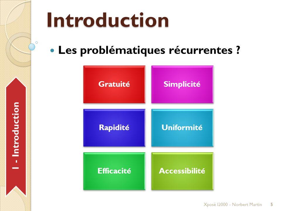 Déroulement Xposé I2000 - Norbert Martin16 20 min Introduction Planification Agenda Communication GmailGtalk Centralisation SitesGroups Collaboration DocsCode Bilan