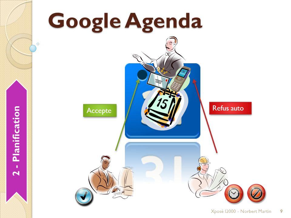 Déroulement Xposé I2000 - Norbert Martin20 10 min Introduction Planification Agenda Communication GmailGtalk Centralisation SitesGroups Collaboration DocsCode Bilan