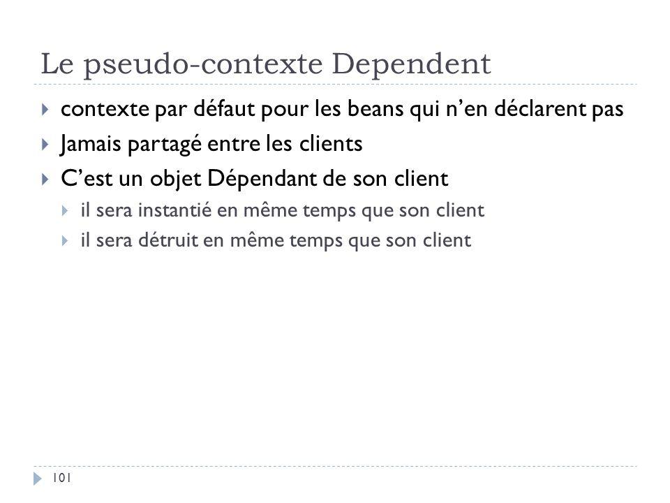 Le pseudo-contexte Dependent contexte par défaut pour les beans qui nen déclarent pas Jamais partagé entre les clients Cest un objet Dépendant de son